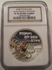 2008 TUVALU DEADLY AND DANGEROUS BLUE-RING OCTOPUS NGC PF 70 UCAM RARE LQQK