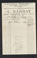 """AUZANCES (23) EPICERIE MERCERIE PARFUMERIE BONNETERIE """"A. BARBAT"""" en 1924"""