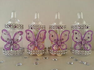 12 Purple Fillable Butterfly Bottles Baby Shower Favors Prizes Girl Decorations