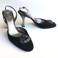 GIORGIO ARMANI black velvet embellished slingback pumps - size 39,5 shoes