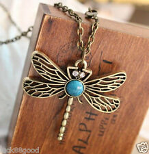 Retro hollow dragonfly wings necklace sweater chainA