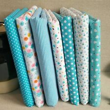 New Cotton Fabric Striped Dots Sewing Cloth DIY Clothes Decor Blue Series 7PCS