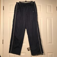 VTG Nike MENS XL Navy Lined Nylon Wind Pants Track Running Zipper Ankle