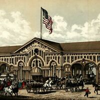 Fulton Ferry building carriages 1864 New York city view lithographed print