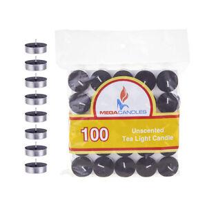 Mega Candles - Unscented Tea Light Candles - Black, Set of 100 CGA083-BK