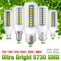 E14 E27 B22 GU10 G9 SMD5730 LED Corn Bulb Light 7-30W Cool Warm White Spotlight
