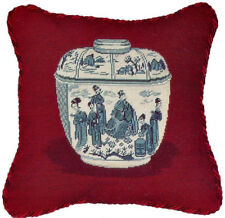 "15""x15"" Handmade Wool Needlepoint Blue White Ming Dynasty Jar on Burgundy Pillow"