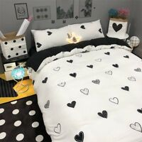Heart Printing Black Bedding Set Duvet Quilt Cover+Sheet+Pillow Case Four-Piece