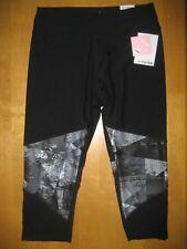 New MARIKA Powertek Capri Legging Yoga Pant Black Print Mesh Insert M NWT
