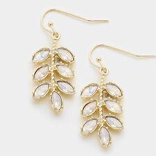 Women's Gold White Opal Crystal Leaf Twig Opal Dangle Earrings