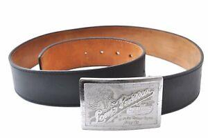 """Auth Louis Vuitton Ceinture Jeans Belt Size 90cm 35"""" Black Silver M6812 LV E0771"""