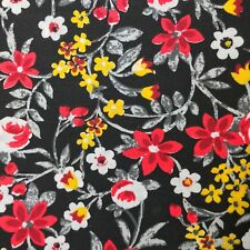 Floral Garden Red/Gold/White on Black Fabric 100% Cotton Fabric Yard USA Made