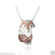RED DIAMOND AND STERLING SILVER NECKLACE RED FOX  VULPES VULPES SUNSET RED GEM