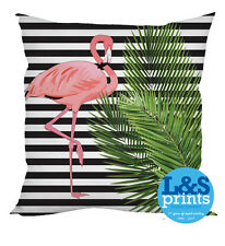 FLAMINGO BLACK & WHITE STRIPED DESIGN WATERPROOF GARDEN CUSHION OUTDOOR CUSHION