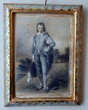 Vtg ITALY FLORENCE Firenze Wood Frame Tole Blue Boy Print Wall hanging Art Gilt