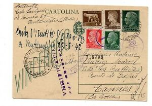 1942 Cartolina Postale 15 c. + 5+10+20+25 per la Francia Cannes Verificato Cens.