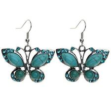 Women Jewellery Tibetan Silver Turquoise Stone Crystal Butterfly Hook Earring KC