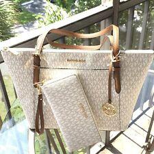 Michael Kors Women Leather Vanilla Shoulder Tote Bag Purse Handbag+Long Wallet
