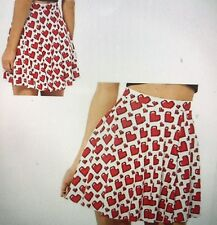 White Skirt With Red Hearts, Scalloped Edge, Elastic Waist