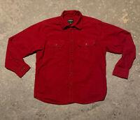 Mens Eddie Bauer Red Heavy Duty Flannel Long Sleeve Button Shirt Size Medium EUC