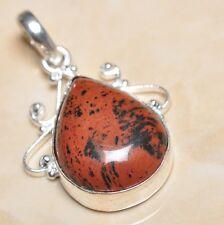 """Handmade Natural Obsidian Mahogany Jasper 925 Sterling Silver Pendant 2"""" #P06041"""