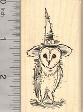 Barn Owl Witch Halloween Rubber Stamp, Wearing Hat  J25518 WM