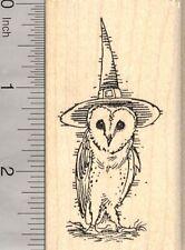 Barn Owl Witch Halloween Rubber Stamp, Wearing Hat  J25518 WM