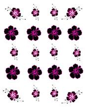 Black & Pink Hibiscus Waterslide Nail Decals/Nail Art