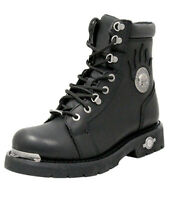 "Harley-Davidson Mens 6"" Diversion Skull Lace-Up Black Leather Biker Boots D94169"