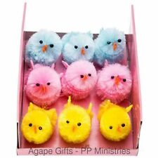 """HL Easter Craft Decor - Baby Chenille Chicks - Pink Blue Yelllow - 1.25"""" 9pc."""