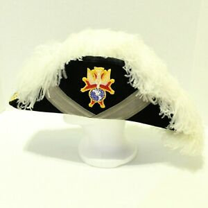 Knights Of Columbus 4th Degree Ostrich Plume Chapeau Hat Sz 7 Velvet Made in USA