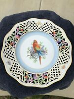 "Schumann Arzberg Germany Reticulated Plate Pierced bird and flowers 10½"" Vtg EUC"