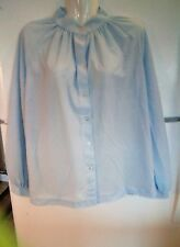 ALFRED DUNNER Women's Long Sleeve Sheer Career Blouse Blue Size Large