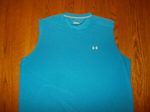 UNDER ARMOUR CREW NECK BLUE SLEEVELESS ATHLETIC SHIRT MENS XXL EXCELLENT COND.