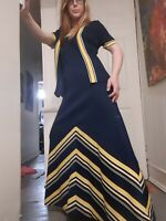 Vintage 1960's Mod Two-piece Maxi Dress & Short Sleeved Jacket Set (L/XL)