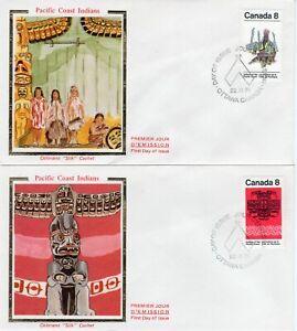 """CANADA """"COLORANO""""  FDC # 572-73 """"SILK""""  """" PACIFIC COAST INDIANS """""""