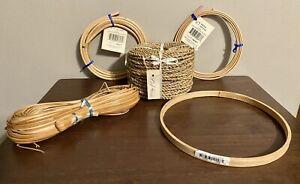 Large Lot Of Various Basket Weaving Supplies - Reed Spline - Hoop