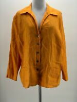 Jones New York Women's Orange 100% Linen Long Sleeve Button-Down Blouse Size 16