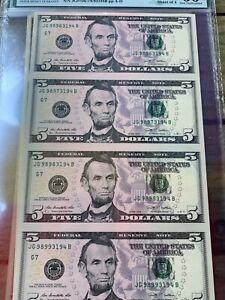 2003 A  FR#1994 -G CHICAGO   $5 PMG 66 EPQ SHEET OF 4