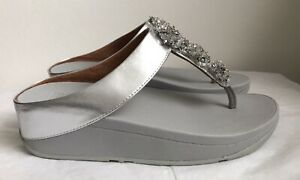 Fitflop Silver Galaxy Beaded Toe Post Thong Sandals Sz 4 37 New