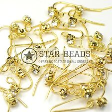 20 PAIRS GLASS CLEAR RHINESTONE GOLD PLATED BRASS EARRING HOOKS