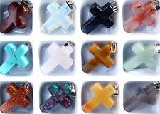 12 X MIXED~CROSS~GEMSTONE~PENDANTS~ 29 x 18 x 6 mm