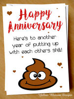 Funny Anniversary Card Putting Up Wedding Husband Wife Couple Joke Blunt Rude