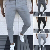 Mens Casual Long Pants Slim Sport Business Office Work Trousers Tight Jeggings