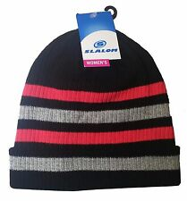 Slalom Women's Winter Beanies Black Stripes