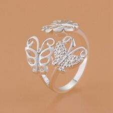 925 STERLING SILVER PLATED ADJUSTABLE DOUBLE BUTTERFLY FINGER RING