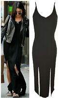 LADIES WOMEN NEW SUMMER CELEBRITY VANESSA FRONT & BACK SPLIT MAXI DRESS 8-14