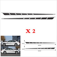 1Pair Car Body Side Graphics Chequered Flag Racing Stripes Vinyl Decals Stickers