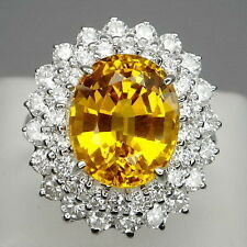 GLAMOROUS! GOLDEN YELLOW CITRINE OVAL 7.2 CT. & WHITE SAPP 925 SILVER RING #6.25