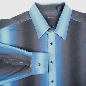 Mondo Di Marco Blue Black Men's 3XB 3XL Big Striped Button Up Long Sleeve Shirt